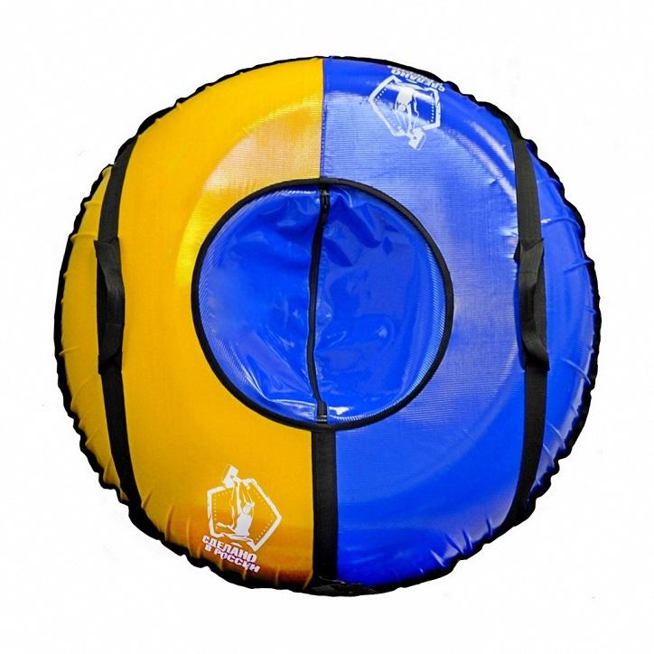 Санки надувные – Тюбинг, Сделано в России, цвет синий-желтый и автокамераВатрушки и ледянки<br>Санки надувные – Тюбинг, Сделано в России, цвет синий-желтый и автокамера<br>