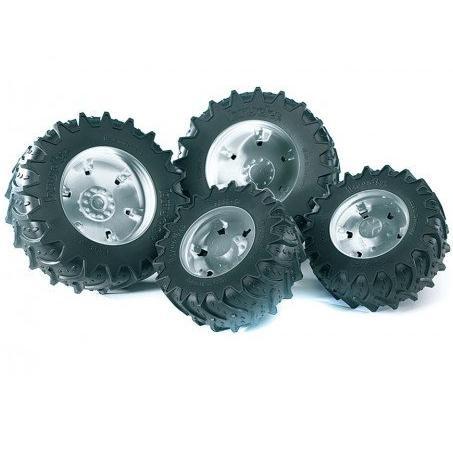 Шины с серебристыми дисками для системы сдвоенных колёс - Игрушки Bruder, артикул: 57119