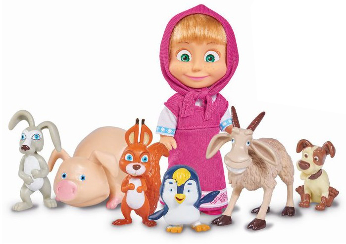 Игровой набор - кукла Маша с друзьями-животными, 12 см.Маша и медведь игрушки<br>Игровой набор - кукла Маша с друзьями-животными, 12 см.<br>