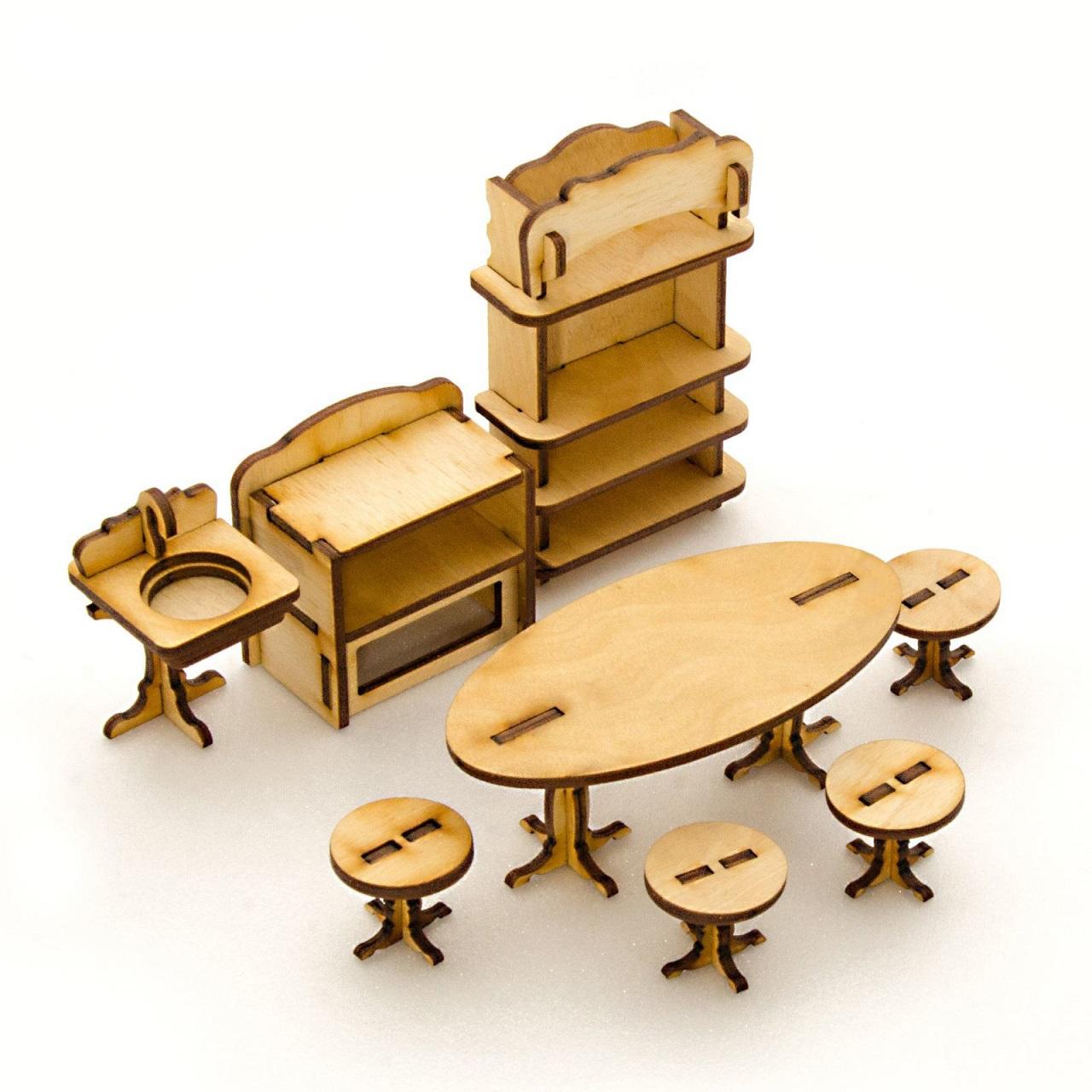 Купить Сборная деревянная модель для кукольного домика - Кухня, 8 позиций, Теремок