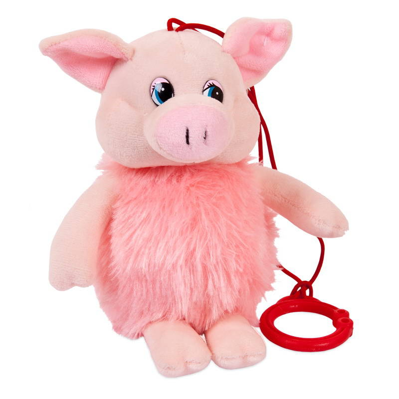 Купить Свинка пушистая озвученная, 16 см, с карабином, Chuzhou Greenery Toys Co