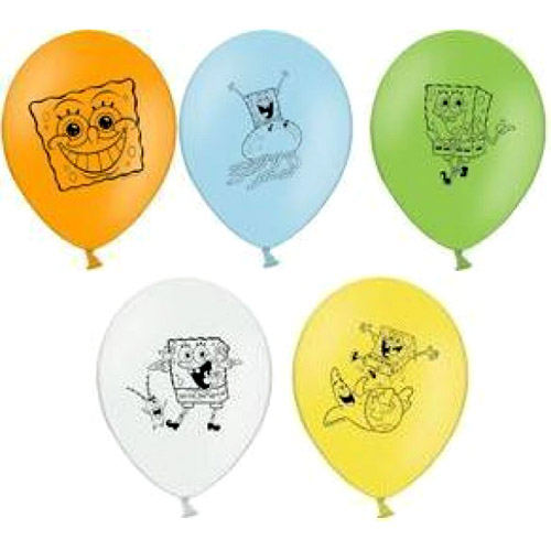 Набор шаров – Губка Боб, 5 шт. по 30 см.Воздушные шары<br>Набор шаров – Губка Боб, 5 шт. по 30 см.<br>
