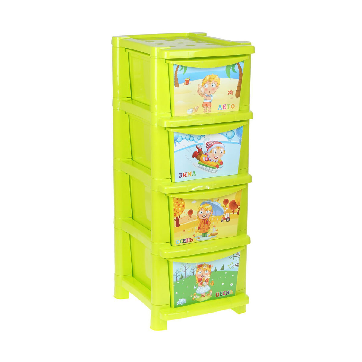 Комод для детской комнаты Обучайка - Времена года, салатовыйКорзины для игрушек<br>Комод для детской комнаты Обучайка - Времена года, салатовый<br>