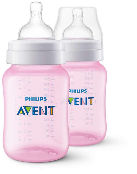 Бутылочки для кормления Серия Classic+, 260 мл, 2 шт., розовыеБутылочки<br>Бутылочки для кормления Серия Classic+, 260 мл, 2 шт., розовые<br>
