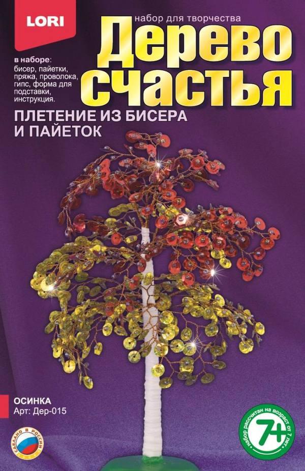 Купить Набор для плетения из бисера и пайеток - Дерево счастья Осинка, ЛОРИ