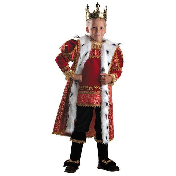 Карнавальный костюм для мальчиков – Король, пальто, накидка и брюки, размер 122-64 фото