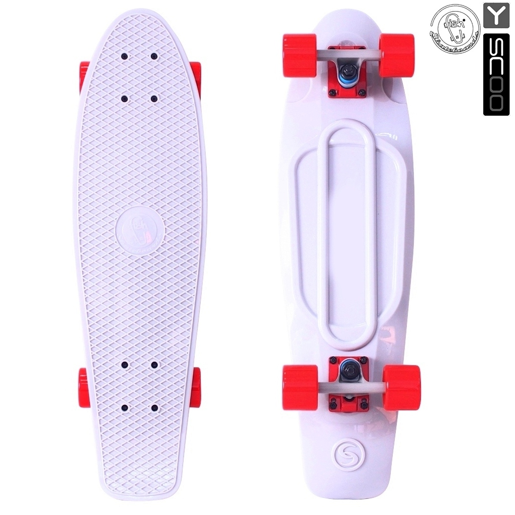 Скейтборд виниловый Y-Scoo Big Fishskateboard 27 402-W с сумкой, бело-красныйДетские скейтборды<br>Скейтборд виниловый Y-Scoo Big Fishskateboard 27 402-W с сумкой, бело-красный<br>