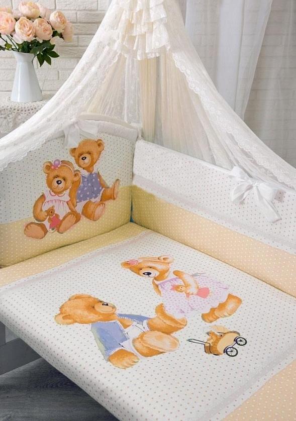 Комплект в кроватку – Sweety Bear, 7 предметов, молочныйДетское постельное белье<br>Комплект в кроватку – Sweety Bear, 7 предметов, молочный<br>