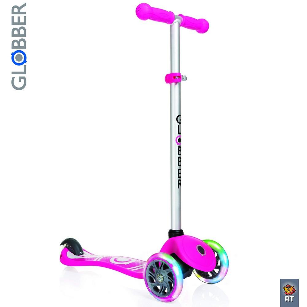 Самокат Y-SCOO Globber Primo Fantasy с 3 светящимися колесами Logo Neon pinkТрехколесные самокаты<br>Самокат Y-SCOO Globber Primo Fantasy с 3 светящимися колесами Logo Neon pink<br>