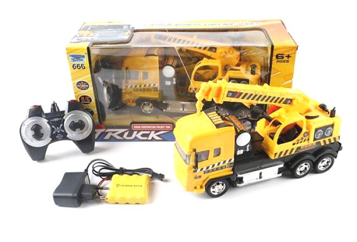 Машина-автокран на радиоуправлении, на аккумуляторе, со светомСпецтехника: бульдозеры, экскаваторы<br>Машина-автокран на радиоуправлении, на аккумуляторе, со светом<br>
