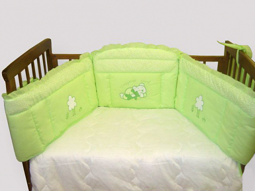 Бампер в кроватку - Светик, зеленый