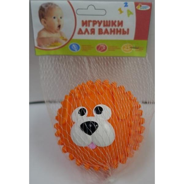 Купить Игрушка капитошка для купания из пластизоля - Мячик-собака, оранжевый, 8 см. в сетке, Играем вместе