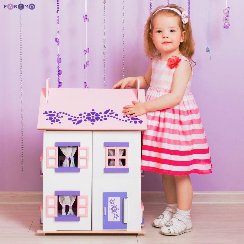 Купить Деревянный кукольный домик с 15 предметами мебели - Анастасия, Paremo