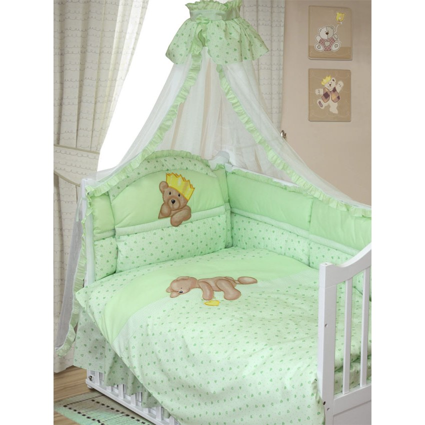 Комплект в кроватку – Мишка-Царь, 8 предметов, зеленыйДетское постельное белье<br>Комплект в кроватку – Мишка-Царь, 8 предметов, зеленый<br>