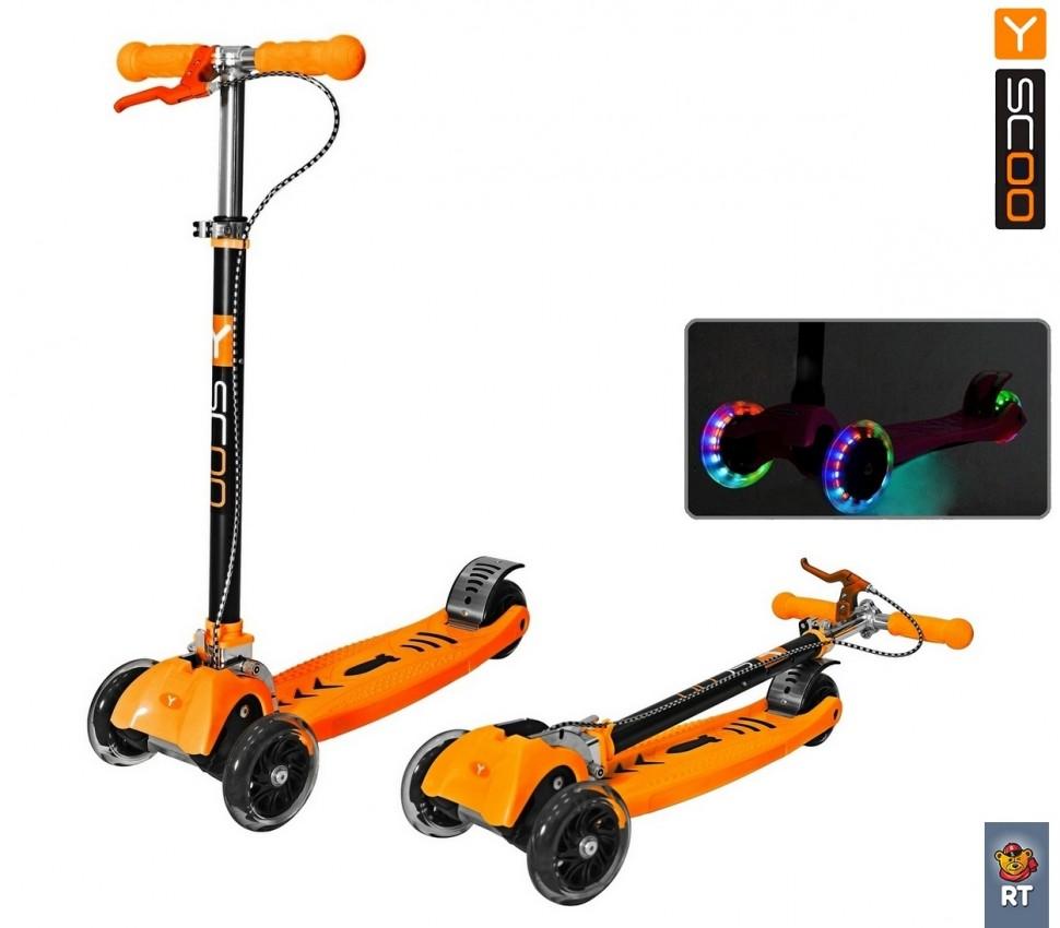 Самокат-трансформер Maxi City RT Shine Gagarin с ручным тормозом, оранжевый