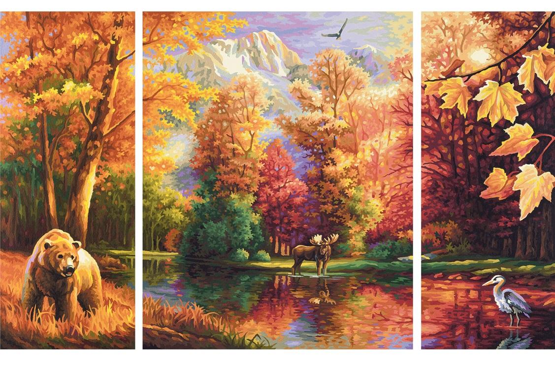 Большая раскраска по номерам. Триптих. ОсеньРаскраски по номерам Schipper<br>Большая раскраска по номерам. Триптих. Осень<br>