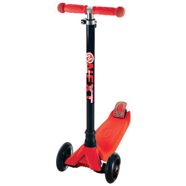 Купить Самокат 3-колесный с алюминиевым корпусом, полиуретановыми светящимися колесами 120 и 76 мм., цвет – красный, Next