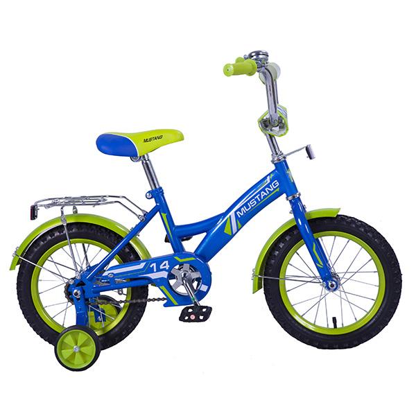 Купить Велосипед детский Mustang с колесами 14 , рама GW-тип, багажник, страховочные колеса, звонок, сине/салатовый