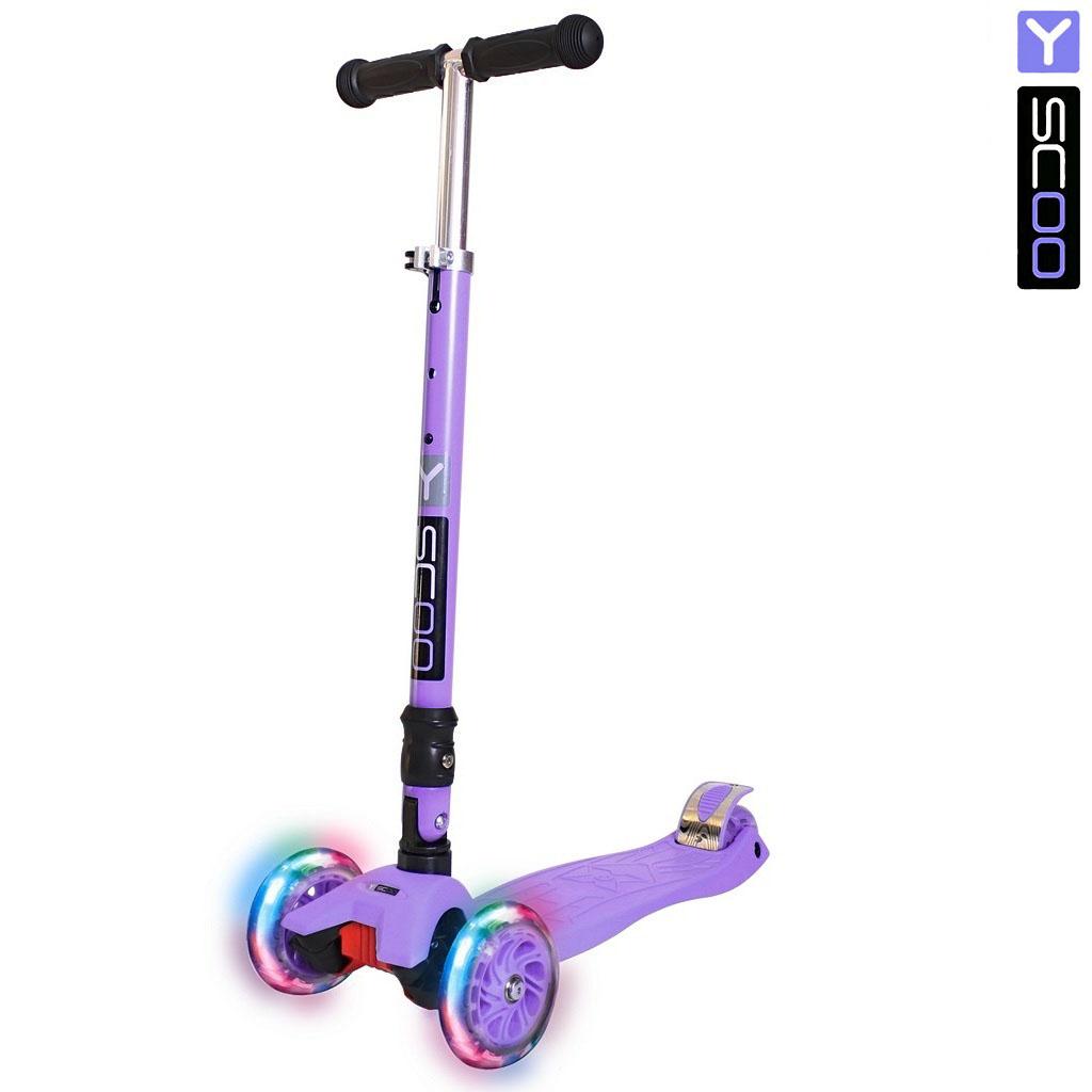 Трехколесный самокат Y-Scoo 35 Maxi Fix Shine, фиолетовый, со светящимися колесамиТрехколесные самокаты<br>Трехколесный самокат Y-Scoo 35 Maxi Fix Shine, фиолетовый, со светящимися колесами<br>