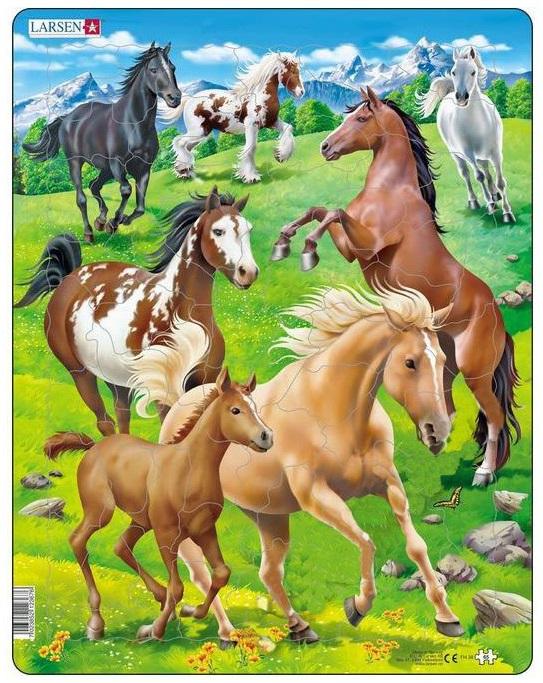 Купить Пазл – Лошади, 65 деталей, Larsen