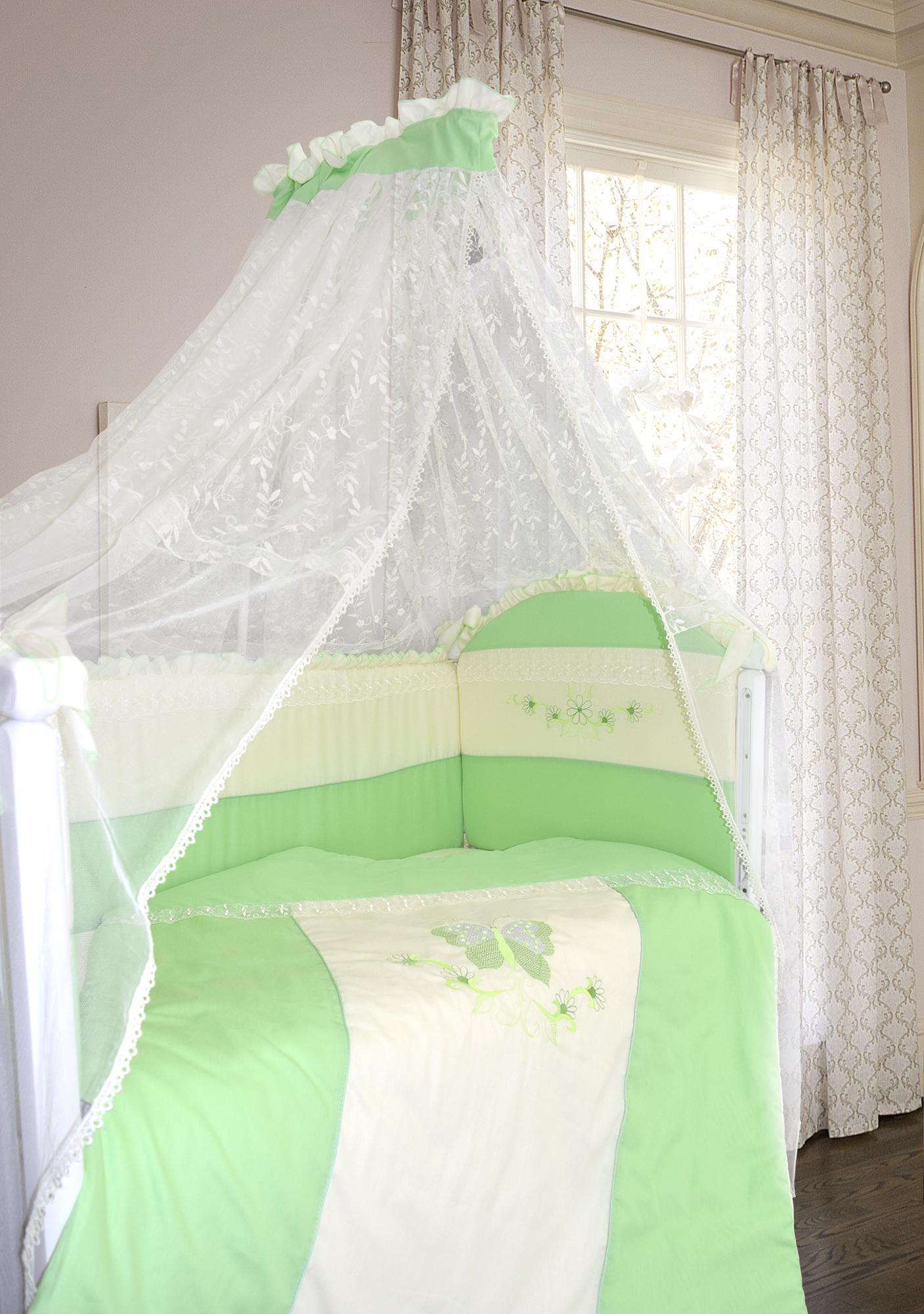 Комплект в кроватку - Абэль, сатин, 7 предметов, зелёныйДетское постельное белье<br>Комплект в кроватку - Абэль, сатин, 7 предметов, зелёный<br>