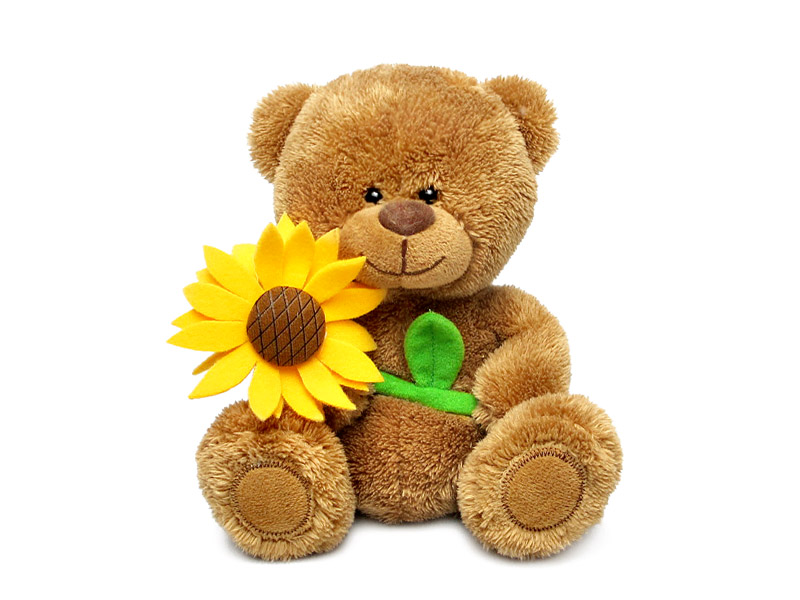 Мягкая игрушка - Медвежонок Сэмми с подсолнухом, музыкальный, 18 см.Говорящие игрушки<br>Мягкая игрушка - Медвежонок Сэмми с подсолнухом, музыкальный, 18 см.<br>