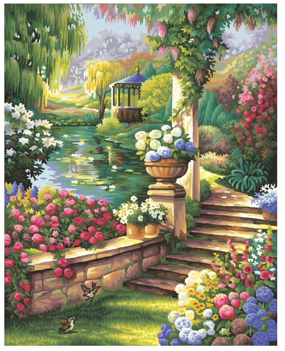 Раскраска по номерам - Райский сад, 40 х 50 смРаскраски по номерам Schipper<br>Раскраска по номерам Райский сад<br> Размер готовой работы: 40 х 50 см.<br> В состав набора входят: высококачественные акриловые краски, картон с н...<br>