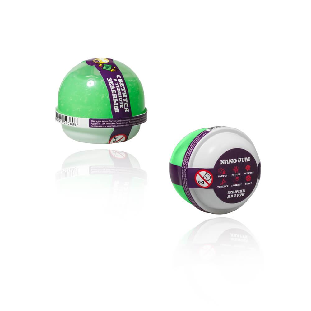 Жвачка для рук из серии Nano gum светится зеленым, 25 гр.