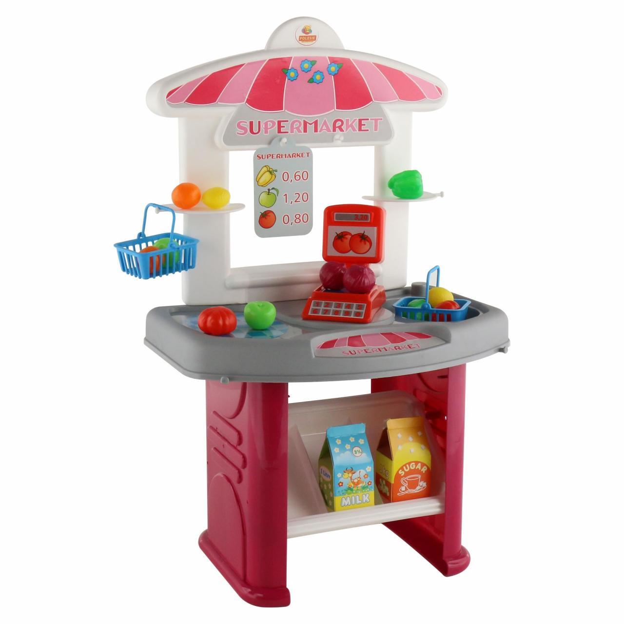 Игровой набор Супермаркет с витриной и товарами, в коробке Полесье