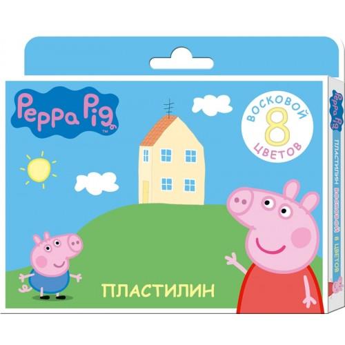 Пластилин восковой Свинка Пеппа, 8 цветовСвинка Пеппа (Peppa Pig )<br>Пластилин восковой Свинка Пеппа, 8 цветов<br>