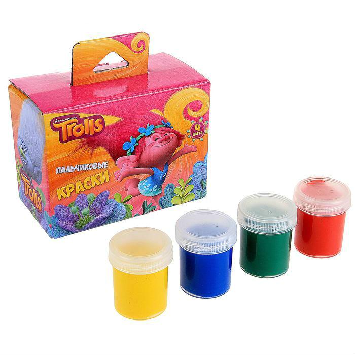 Краски пальчиковые из серии Тролли, 4 цветаТролли игрушки<br>Краски пальчиковые из серии Тролли, 4 цвета<br>
