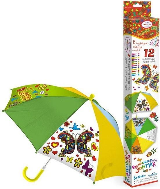 Зонтик для раскрашивания с 12 маркерами и стразами– ЦветыДетские зонты<br>Зонтик для раскрашивания с 12 маркерами и стразами– Цветы<br>