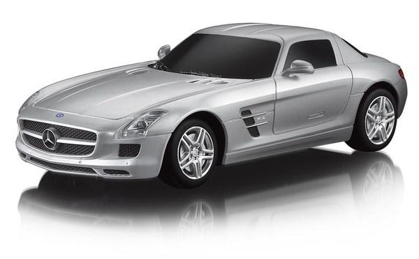 картинка Машина на р/у – Mercedes SLS AMG, 1:24, 19 см, серебряный, свет от магазина Bebikam.ru