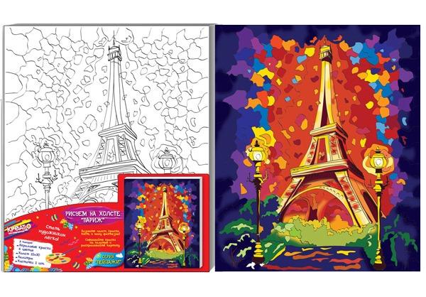 Роспись по холсту «Париж», 25 х 30 см., КреаттоРоспись по холсту<br>Роспись по холсту «Париж», 25 х 30 см., Креатто<br>