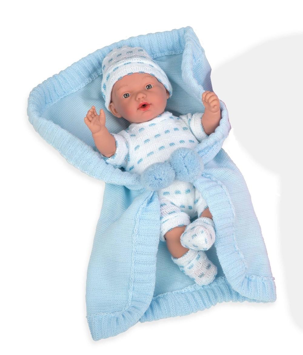 Интерактивная кукла из коллекции Elegance – Пупс с мягким телом, 28 см, в голубой одежде, в конверте, с соской, плачет