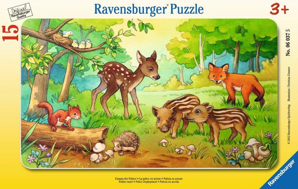 картинка Пазл - Детеныши животных в лесу, 15 деталей от магазина Bebikam.ru