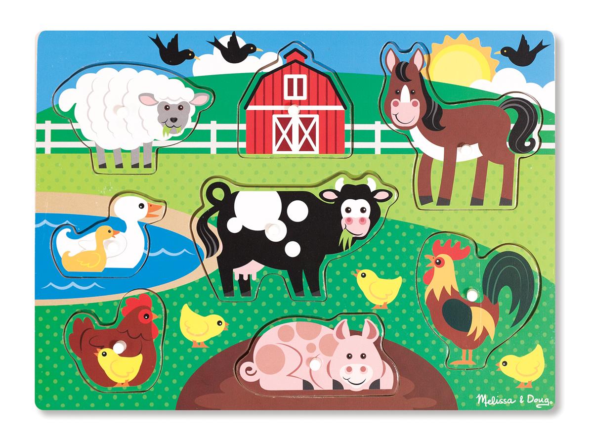 Мои первые пазлы – Ферма, 8 деталей с кнопками Melissa&Doug