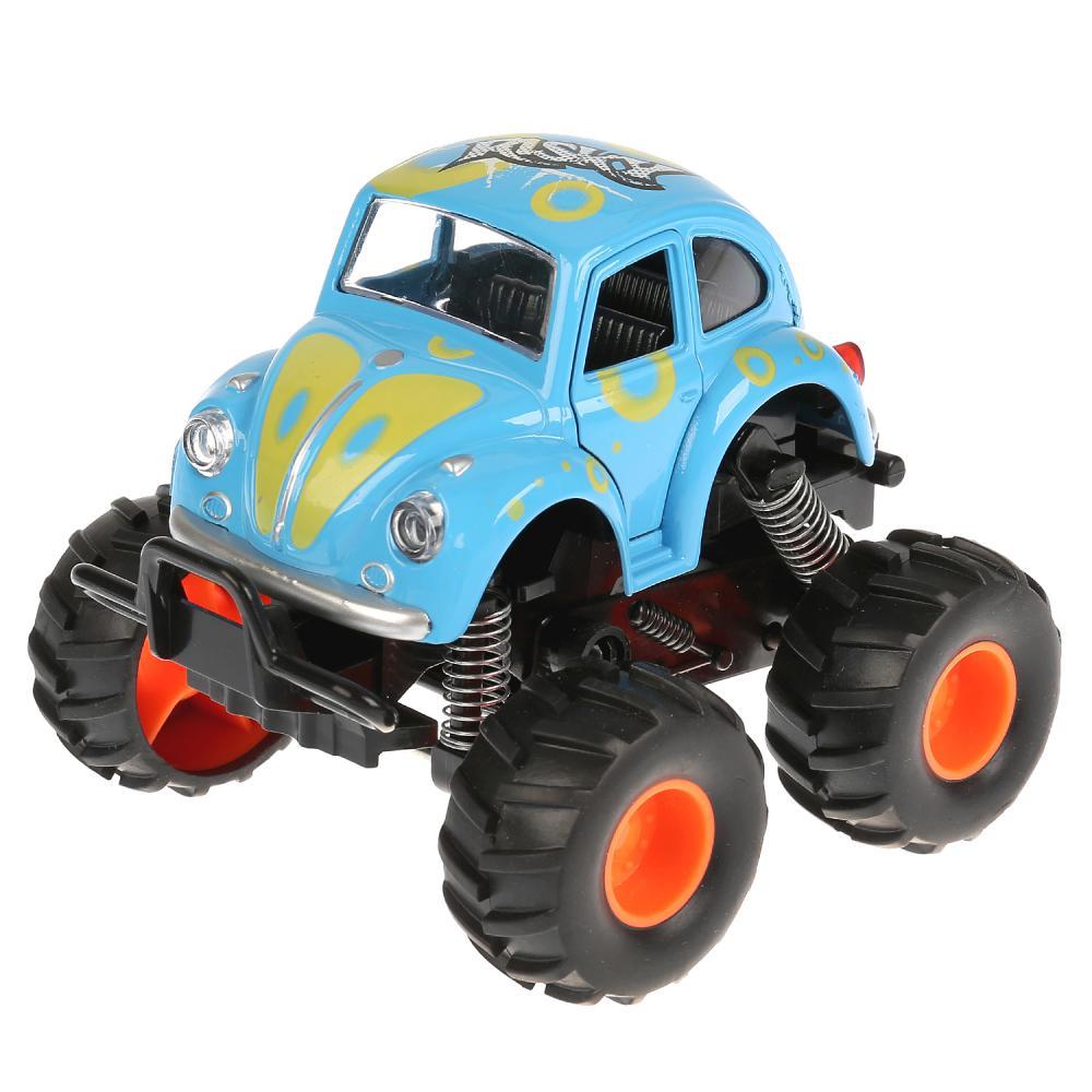 Машина металлическая Монстр Джип, 11,5 см. синий, открываются двери, рессоры, инерционный фото