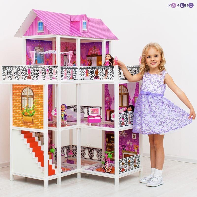 Угловой 3-этажный кукольный дом, 6 комнат, мебель, 3 куклы, велосипедКукольные домики<br>Угловой 3-этажный кукольный дом, 6 комнат, мебель, 3 куклы, велосипед<br>