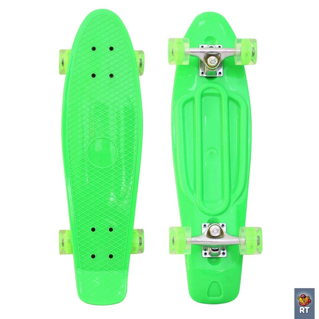 "RT 146315 Скейтборд Classic 26"" - YWHJ-28 пластик со светящимися колесами, зеленый"
