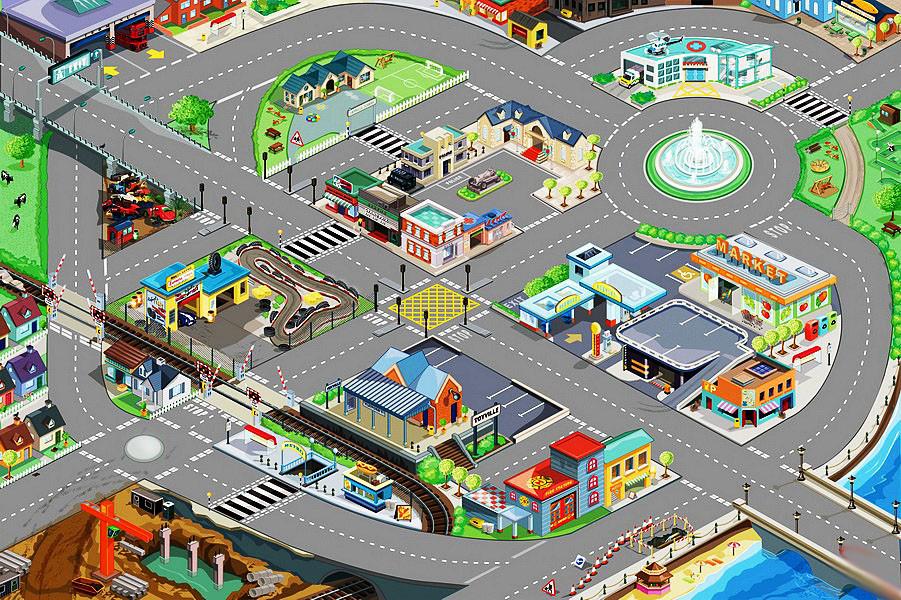 Игровой коврик для парковок, 120 х 80 см.Детские парковки и гаражи<br>Игровой коврик для парковок, 120 х 80 см.<br>
