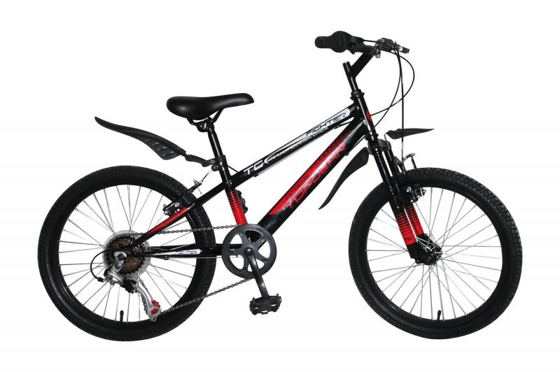 Купить Велосипед Хардтейл, Fighter, колеса 20 , амортизационная вилка, 6 скоростей, Shimano, тормоза V-brake, стальные обода, крылья, Topgear