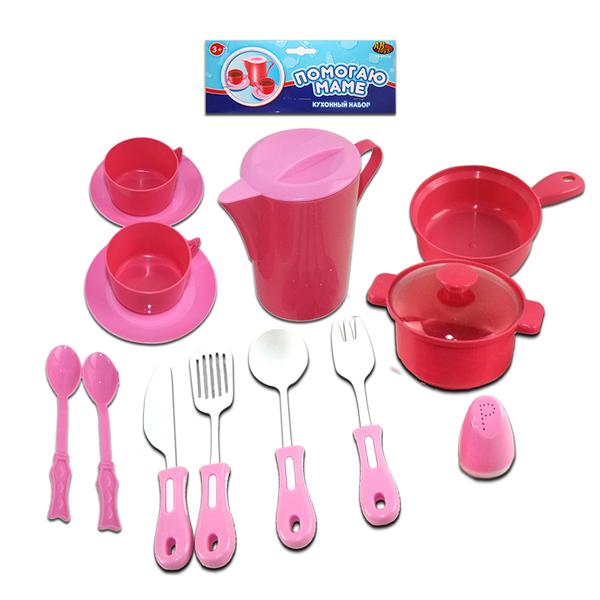 Помогаю Маме. Набор посуды для кухни, 14 предметовАксессуары и техника для детской кухни<br>Помогаю Маме. Набор посуды для кухни, 14 предметов<br>