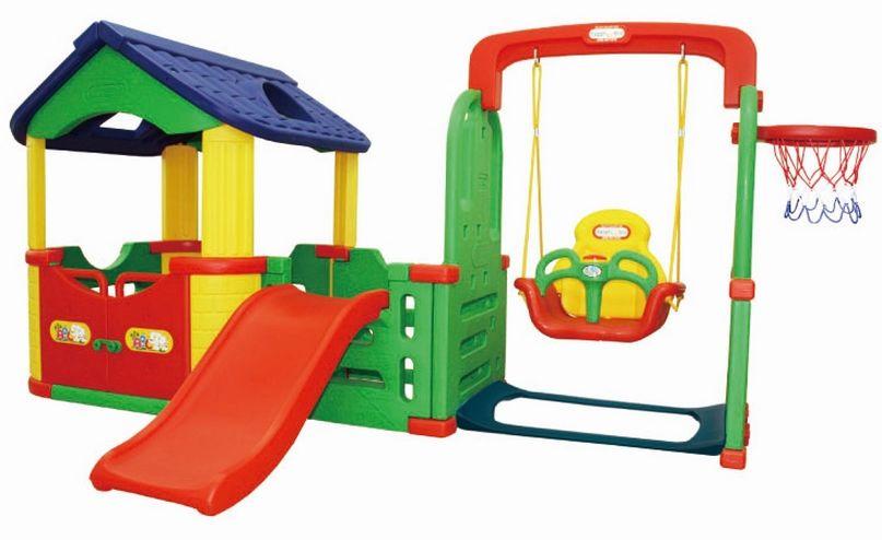 Игровой комплекс Happy Box Мульти-Хаус с горкой, качелями и баскетбольным кольцом, JM-804B - Пластиковые домики для дачи, артикул: 161449