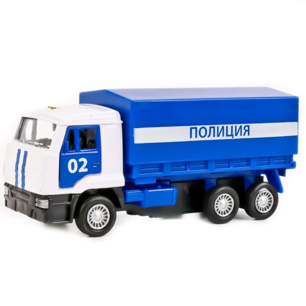 Купить Инерционная модель – Полиция. Бортовой КамАЗ со съемным тентом, 12 см, Технопарк