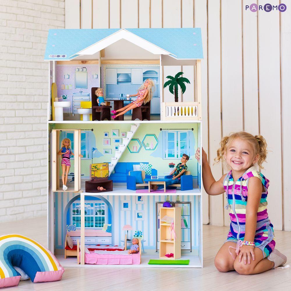 Купить Кукольный дом с мебелью - Лацио, 16 предметов, Paremo