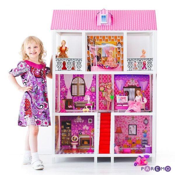 Купить 3-этажный кукольный дом, 5 комнат, лестница, мебель, 5 кукол, Paremo
