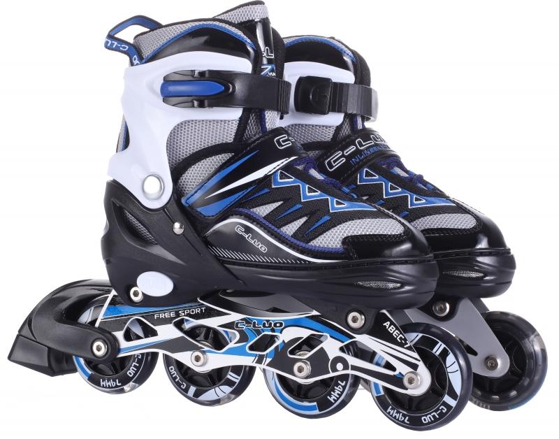 Купить Коньки роликовые, колеса PU, передние колеса со светом, S, черно-синие, 1TOY