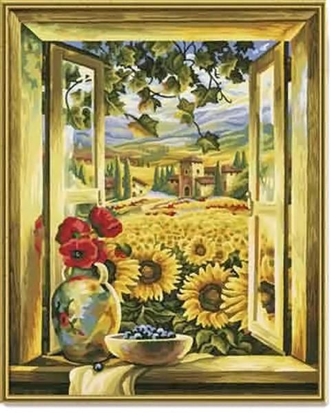 Раскраска картина Поле подсолнуховРаскраски по номерам Schipper<br>Раскраска картина Поле подсолнухов<br>