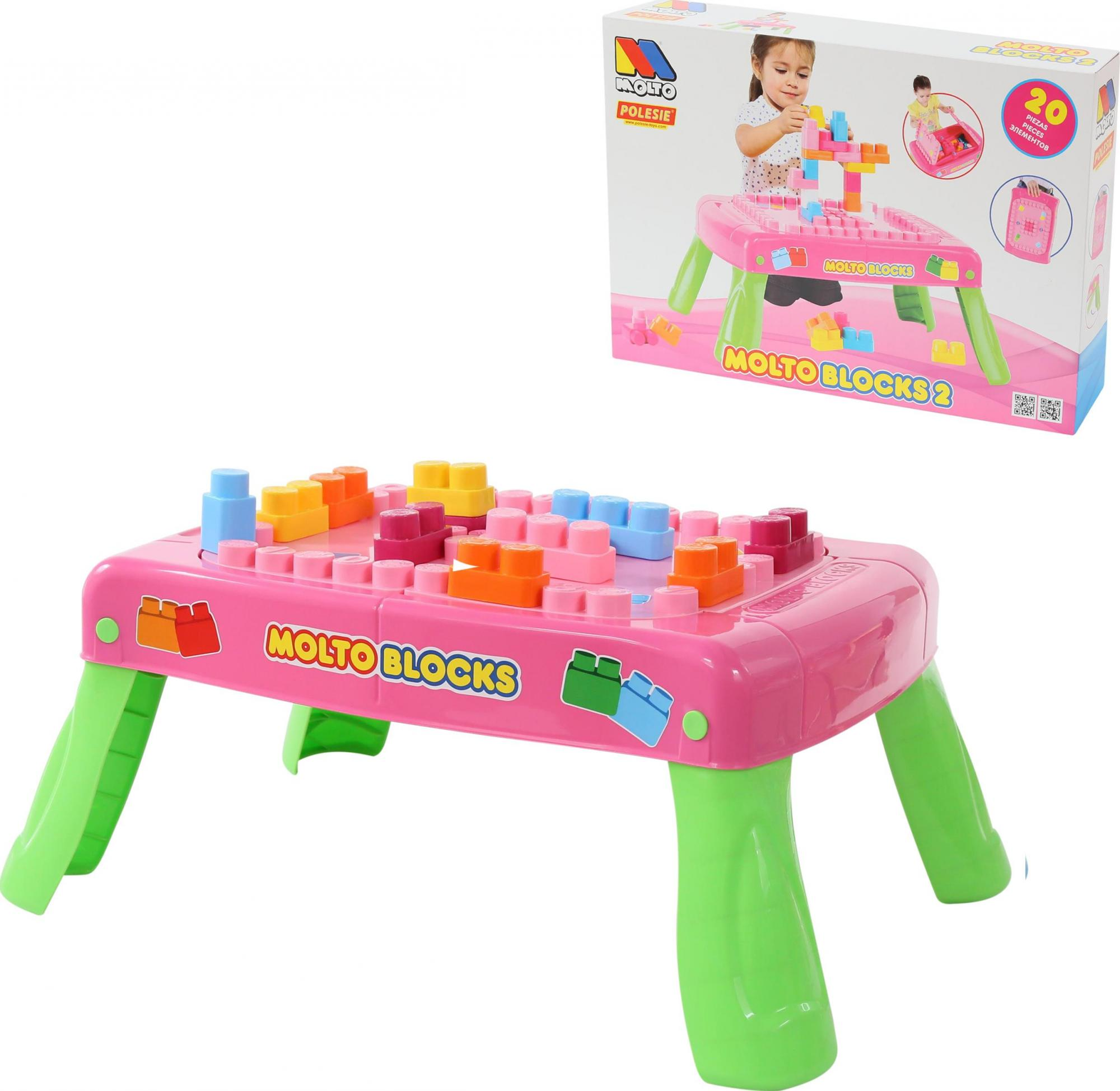 Купить Игровой стол с конструктором, 20 элементов, в коробке, розовый, Полесье